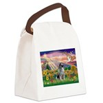 Autumn Angel/Keeshond Canvas Lunch Bag