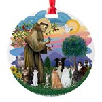 StFrancis-ff-7 cats-BorderCollie.png Round Ornamen