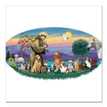 St. Fran (Ov)-Dogs-Cats-Hrs Square Car Magnet 3&qu