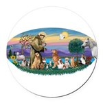 St. Fran (Ov)-Dogs-Cats-Hrs Round Car Magnet