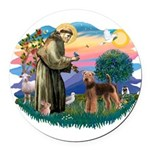 St Francis #2/ Airedale Round Car Magnet