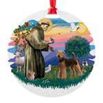St Francis #2/ Airedale Round Ornament