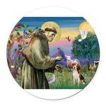 St Francis/Beagle Round Car Magnet