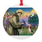 St Francis/Beagle Round Ornament