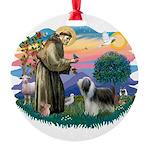 St.Francis #2/ Beardie (sw) Round Ornament