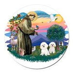 St Francis #2/ Bichon (2) Round Car Magnet