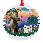St Francis #2/ Bichon (2) Round Ornament