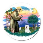 St Francis #2/ Bichon #1 Round Car Magnet