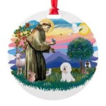 St Francis #2/ Bichon #1 Round Ornament