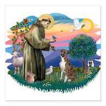 St.Francis #2/ Boxer (nat ea Square Car Magnet 3&q