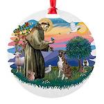 St.Francis #2/ Boxer (nat ea Round Ornament