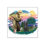 """St.Francis #2/ Briard (blk) Square Sticker 3"""""""