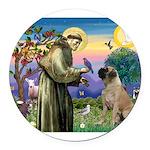 St Francis / Bullmastiff Round Car Magnet