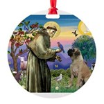 St Francis / Bullmastiff Round Ornament