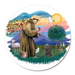 St Francis #2/ Cairn (br) Round Car Magnet