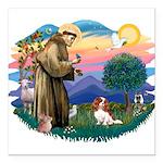 St.Francis #2/ Cavalier (bl) Square Car Magnet 3&q