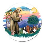 St Francis #2/ Cavaliers Round Car Magnet