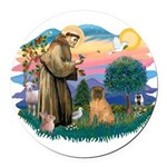 St.Francis #2/ Shar Pei (#3) Round Car Magnet