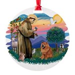 St Francis #2/ Chow (R) Round Ornament