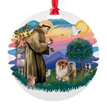 St Francis #2/ Chow (B) Round Ornament