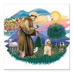 St.Francis #2/ Cocker (buff # Square Car Magnet 3&