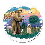 St.Francis #2/ Cocker (buff # Round Car Magnet