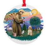 St.Francis #2/ Cocker (buff # Round Ornament