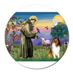St. Francis & Collie Round Car Magnet