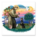 St.Francis #2/ Dobie (cropped Square Car Magnet 3&