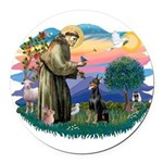St.Francis #2/ Dobie (cropped Round Car Magnet