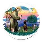 St Francis #2/ Doberman Round Car Magnet