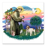 St.Fran #2/ English Bulldog Square Car Magnet 3&qu