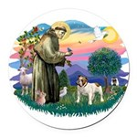 St.Fran #2/ English Bulldog Round Car Magnet