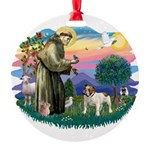 St.Fran #2/ English Bulldog Round Ornament