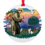 St.Francis #2/ Fox Terrier Round Ornament