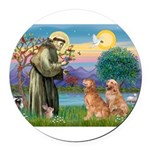 StFrancis-2Goldens.png Round Car Magnet
