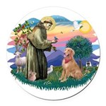 St.Francis #2/ Golden Ret(B4) Round Car Magnet
