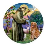 Saint Francis' Golden Round Car Magnet
