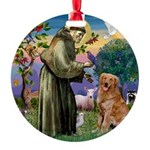 Saint Francis' Golden Round Ornament