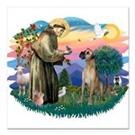 St.Fran. #2/ Great Dane (nat) Square Car Magnet 3&