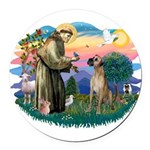 St.Fran. #2/ Great Dane (nat) Round Car Magnet