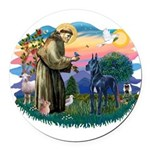 St.Francis #2/ Great Dane (bl Round Car Magnet