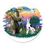 St.Francis #2/ Great Dane (H) Round Car Magnet