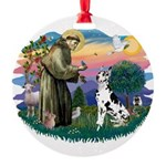 St.Francis #2/ Great Dane (H) Round Ornament