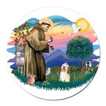 St.Francis #2/ Havanese(#1) Round Car Magnet