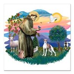 St.Francis #2/ Italian Greyho Square Car Magnet 3&