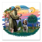 St Francis #2/ Spinone Square Car Magnet 3