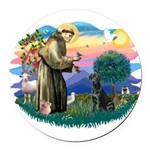 St.Francis #2 / Black Lab Round Car Magnet