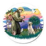 St.Francis #2/ Yellow Lab Round Car Magnet