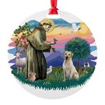 St.Francis #2/ Yellow Lab Round Ornament